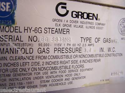 Groen Hy 6g Hypersteam Convection Gas Steamer Hy6g