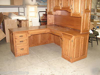 New Executive L Shaped Computer Desk Credenza Hutch