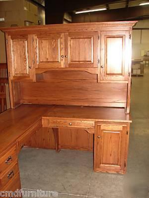 New Executive L Shaped Computer Desk Credenza Hutch